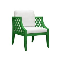 """SUTTON GR - LATTICE SIDE CHAIR IN GREEN LACQUER WITH WHITE LINEN CUSHION     - SEAT HEIGHT 17.5"""""""