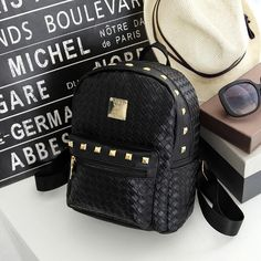 bag again 010817 new fashion women rivet backpack student school book shoulder bag