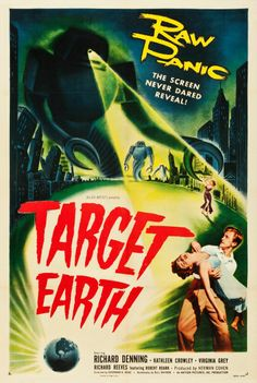 "Target Earth (Allied Artists, 1954). One Sheet (27"" X 41""). Chicago is targeted for an alien invasion from the planet Venus in this 1950s sci-fi thriller. Although we're told that an ""army"" of robots threatens the planet, there was actually only one robot costume, due to very real, very stringent budgetary constraints. That aside, this is still an entertaining film with a stellar poster"