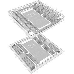 03_Organisation-des-programmes Stadium Architecture, Plans Architecture, Concept Architecture, Sports Stadium, Sports Complex, Hall Design, Calais, Football Stadiums, Building Structure