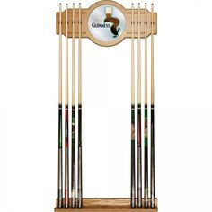 Guinness Tucan Officially Licensed High-End Furniture 2 Piece Oak 8 Cue Rack #Guinness