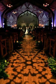 Gobo light - pattern wash as an aisle runner for ceremony, beautiful.