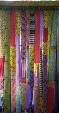 Bohemian Curtain Patchwork Junk Gypsy Hippie Door Curtain Door Panel Boho Patchwork Curtain Festival Glamping Hippie Vanlife by HollyhockVillage on Etsy Patchwork Curtains, Bohemian Curtains, Diy Curtains, Colorful Curtains, Bohemian Decor, Beaded Curtains, Bohemian Living, Plywood Furniture, Modern Furniture
