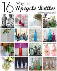 16 Creative Ways to Upcycle Bottles Diy Bottle Lamp, Glass Bottle Crafts, Bottle Chandelier, Recycled Wine Bottles, Wine Bottle Corks, Recycle Bottles, Diy Arts And Crafts, Jar Crafts, Shell Crafts