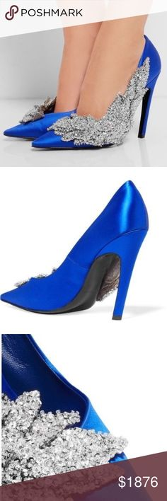"""Balenciaga Satin Crystal Pumps 110 MM $2,850.00 retail plus tax! From fall 2016/winter 2017 collection  EXTREMELY RARE COLOR!  Balenciaga satin pump with crystal and sequin embellished side. Size: 37.5 and fits true to size! Color: electric blue 4.3"""" covered heel. Pointed toe. Slip-on style. Smooth sole. Made in Italy. Never worn, new with box Please ask all questions ahead of time. These are final sale and no returns will be accepted! Balenciaga Shoes"""