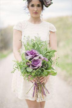 Ramo de novia en morado y verde