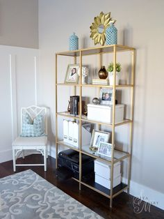 Sita Montgomery Interiors: My Home Office: Going for the Gold DIY Gold Antique GOld Rubb n' Buff and Design Masters Gold Medal spray paint