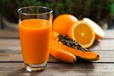 Photo about Healthy orange, papaya and carrot smoothie. Image of carrot, fruit, lifestyle - 43253941 Carrot Smoothie, Fruit Smoothies, Healthy Smoothies, Healthy Drinks, Smoothie Recipes, Healthy Eating, Papaya Smoothie Detox, Papaya Recipes, Juice Recipes
