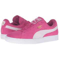 PUMA Suede Classic (Fuchsia Purple/Puma White) Women's Shoes ($60) ❤ liked on Polyvore featuring shoes, stitch shoes, cushioned shoes, suede shoes, 80s footwear and white suede shoes