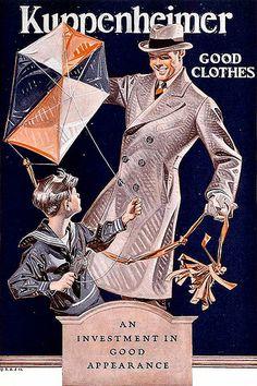 """Kite Weather"" perfect for a Kuppenheimer Overcoat  Illustration by JC Leyendecker"