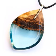 Leaf jackfruit pendant in light blue