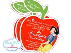 SNOW WHITE Invitation Printable by FiestaPrint