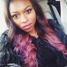 PatriciaBright Britpopprincess Makeup Artist MUA Youtube Guru Youtuber Blogger Motivational Speaker Successful Business Women Flawless Makeup Ombre Dip Dye Hair Hairstyle African American Style Red Pink Beauty