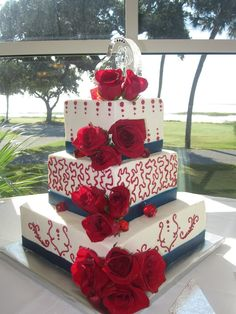 Marine Corps wedding cake – red white and blue