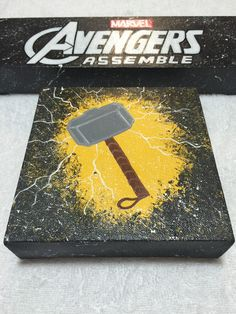 Avengers Thor Canvas by KaySoles on Etsy - Visit to grab an amazing super hero shirt now on sale! Diy Canvas, Canvas Art, Canvas Ideas, Painting Canvas, Rock Painting, Spider Man Homecoming 2017, Marvel Paintings, Painted Rocks, Hand Painted