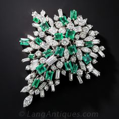 Emerald and Diamond Cluster Brooch