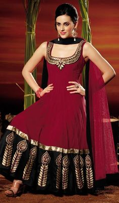 G3 Fashions Maroon Black Net Wedding Wear Embroidered Salwar Suit.  Product Code : G3-LSA103948 Price : INR RS 9592