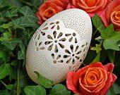 Eggshell of Polish goose - handmade sculpted #81 - transparent easter carved egg ornament decoration unique gift pysanka ażurowa pisanka
