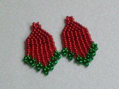 red and green small beaded earrings for pierced by CallunaMuse, $11.00