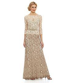Tadashi Shoji TwoTone Lace Gown #Dillards-I like the shape and style, just not fabric