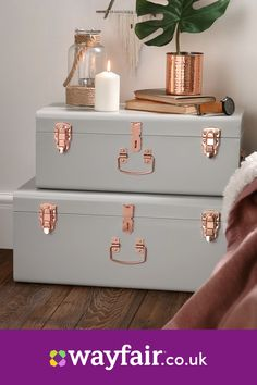 Beautify Blush Pink Vintage-Style Steel Storage Trunk set with Rose Gold Handles – Dorm & Bedroom Footlocker – Top Trend – Decor – Life Style Pink Bedroom Decor, Bedroom Vintage, Bedroom Stuff, Blush And Gold Bedroom, Room Decor Bedroom Rose Gold, Pink Bedroom Walls, Copper Bedroom, Shabby Bedroom, Bedroom Decor For Teen Girls