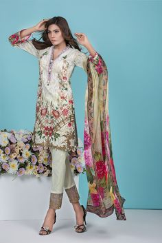 Shirt: Fabric: Embroidered Front, Printed Back with Sleeves Shalwar/Trousers: Fabric: Embroidered Dyed Trouser. Dupatta: Fabric: Printed Silk Dupatta
