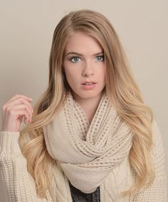 Another great find on #zulily! Leto Collection Oatmeal Open-Grid Infinity Scarf by Leto Collection #zulilyfinds