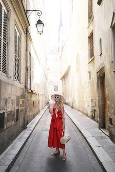 ATLANTIC PACIFIC BLOG // Blair Eadie Red Dress in Paris