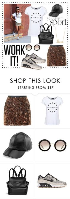 """""""Dead Legacy: Sports Luxe"""" by dead-legacy ❤ liked on Polyvore featuring Topshop, Dead Legacy, Yestadt Millinery, Miu Miu, Givenchy, NIKE, Sydney Evan, sporty, Tshirt and deadlegacy"""