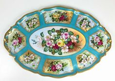 """Rare and huge Limoges France Covered Tureen and Platter/ Tray with hand painted flowers, signed """"RIBES"""""""