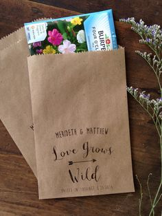 wild & free & enduring is your love, and these seed packet favor bags, printed on recycled Wedding Favours Quirky, Wedding Favours Fudge, Wedding Favour Sweets, Winter Wedding Favors, Candle Wedding Favors, Wedding Bells, Wedding Gifts, Wedding Ideas, All You Need Is