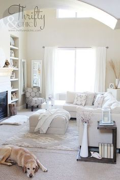 35 Amazing Neutral Living Room Designs: 35 Amazing Neutral Living Room Designs With White Wall And Sofa Table Chair And Wooden Cabinet And Big Window And Elegant Rug My Living Room, Apartment Living, Home And Living, Living Room Decor, Living Spaces, Living Room Inspiration, Home Decor Inspiration, Casa Clean, Design Living Room