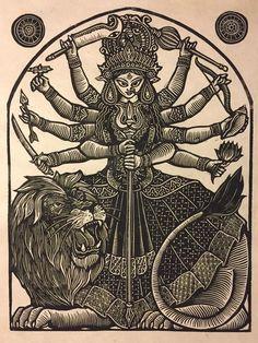 linoblock printed on rice paper with deckle edge Shiva Art, Ganesha Art, Krishna Art, Hindu Art, Durga Maa Paintings, Durga Painting, Indian Art Paintings, Abstract Paintings, Oil Paintings