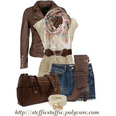 """""""Belted Lace Top, Floral Scarf & Brown Leather"""" by steffiestaffie on Polyvore"""