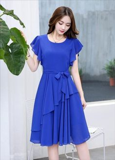Women's Blue Georgette Solid Knee Length Dress by Fashionblend's Shop - Online shopping for Dresses on MyShopPrime - Stylish Dresses, Simple Dresses, Cute Dresses, Vintage Dresses, Beautiful Dresses, Casual Dresses, Short Dresses, Frock Design, Dress Outfits