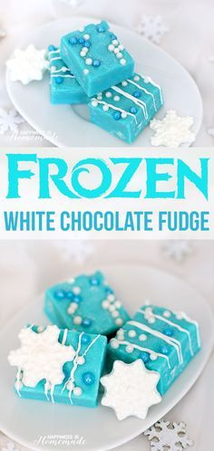"""White Chocolate """"Frozen"""" Fudge - Inspired by the popular movie Frozen, this white chocolate and vanilla fudge comes together in under 5 minutes and uses only 4 ingredients!"""
