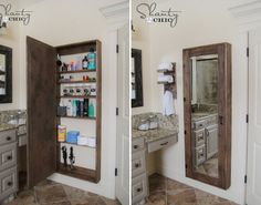 Bathroom cabinet with mirror - 50 Decorative Rustic Storage Projects For a Beautifully Organized Home. Just use the stud space to create much needed storage, could also be used as a jewelry cabinet 😍 Bathroom Mirror Storage, Small Bathroom Organization, Home Organization, Bathroom Ideas, Bathroom Vanities, Bathroom Renovations, Bathroom Cabinets, Bath Ideas, Diy Rustic Decor