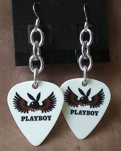 Playboy White and Brown Winged Angel Bunny Guitar Pick Artisan Earrings
