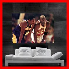 Want...Michael Jordan and Kobe Bryant poster art oil by SuperBold on Etsy, $17.99