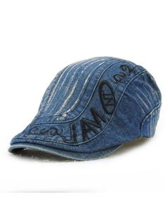 415d9c00c4f Letter Embroidery Do Old Denim Fabric Cabbie Hat  Hats  Fashion  Womens  Men