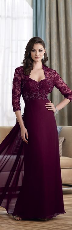 Mon Cheri ~ Haute Couture Strapless Gown w heart neckline, beaded bodice, full skirt w lace Bolero style Jacket, Wine, 2014
