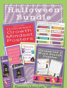 This is a BUNDLE set of various Halloween themed resources in my shop, at a substantial discount to the individual items listed. Files are non-editable PDFs, PNGs, JPGs and a PPT file - 89 total usable pages: * Growth Mindset Posters - Ten Halloween posters with Growth Mindset sayings, in five different file types