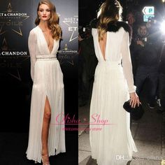 Cheap White Chiffon A Line Celebrity Dresses Sexy Deep V Neck with Long Sleeves Side Slit Floor Length Evening Prom Gowns 2014 BO1329 Online with $86.84/Piece on Olisha's Store   DHgate.com
