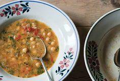 Vegan: chickpea, paprika, tomato, EVOO, garlic, onion, celery, rosemary, bay, parsley, tomato paste, salt, pepper