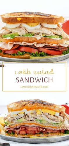 Recipes Lunch Cobb Salad Sandwich is a quick and easy healthy recipe for lunch and dinner! It has all the ingredients of your favorite cobb salad piled high to create a filling sandwich full of fresh ingredients. Save this healthy meal for the family!