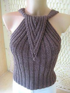 Brązowe damskie bluzki bawełniane góry, odzież damska, Seksowny czarny top, dziania, handmade, top eleganckich pań