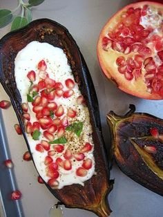 Eggplant, Yogurt/Buttermilk Sauce and Pomegranate Seeds More