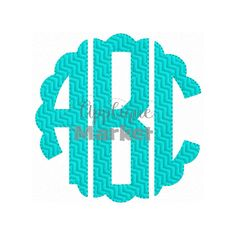 Proudly accent your initials with this Scallop Circle Monogram Chevron Fill . At Applique Market, we have an extensive selection of embroidery fonts and monograms for all applications, from A to Z.