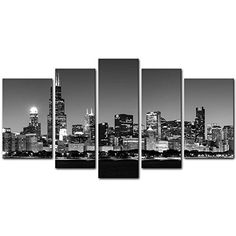 5 Pieces Modern Canvas Painting Wall Art The Picture For Home Decoration Panoramic View Of Chicago Skyline At Night In Black And White Place Cityscape Print On Canvas Giclee Artwork For Wall Decor -- Read more reviews of the product by visiting the link on the image.