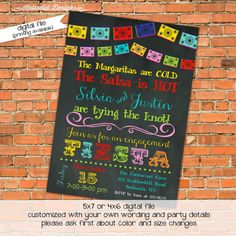 Fiesta rehearsal dinner engagement party birthday or any festive occasion calling for a Fiesta invitation! www.katiedidcards.com Bright colors chalkboard and fiesta bunting banner